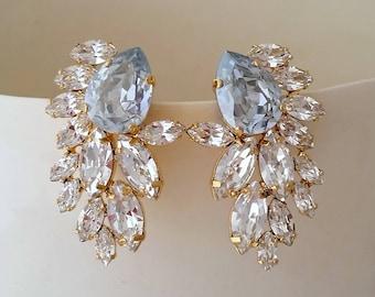 Bridal earrings,Blue earrings,Dusty blue earrings,Crystal statement earrings,Extra large cluster earrings,Swarovski earrings,Gastby style