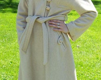 Vintage Ladies Beige Wool Coat w/ Fur Collar by Sears Fashions Medium Only 40 USD
