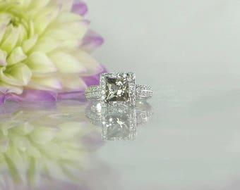 Square Engagement Ring, Princess Cut Engagement Ring, Princess Cut Gemstone Ring, Square Statement Ring, Square Cut Ring, Gemstone Ring