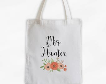Mrs Antique Flowers Cotton Canvas Personalized Tote Bag - Custom Gift for Bride to Be, Teacher - Coral and Peach (3003)
