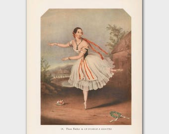 "Ballerina Wall Art, Vintage Ballet Print (Home Decor, Dance Teacher Gift) --- ""The Devil to Pay"""