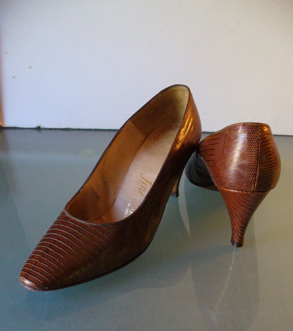 Vintage Finezza Genuine Lizard Skin Heels