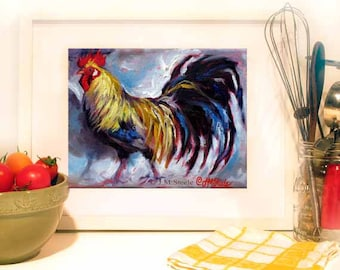 Rooster Painting, Rooster Wall Art, Rooster Print, Colorful Chicken Art, Chicken Print from Original Painting, 10 x 8 by Jemmas Gems