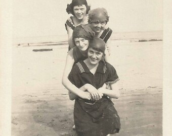 "Vintage Snapshot ""By The Sea"" 1910's Bathing Costumes Girlfriends Beach Found Vernacular Photo"