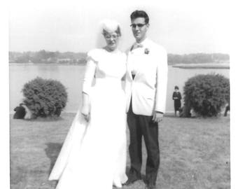 "Vintage Snapshot ""Made For Each Other"" Look-Alike Bride & Groom Mid-Century Found Vernacular Photo"