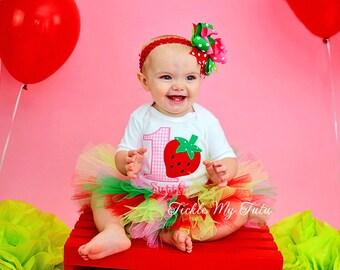 Strawberry Sweetheart Birthday Tutu Outfit-Strawberry First Birthday Outfit-Strawberry Birthday Tutu-Strawberry Birthday *Bow NOT Included*