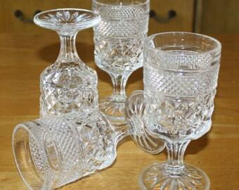 Vintage, Set of 4, Anchor Hocking, Wexford Crystal, Water Goblets