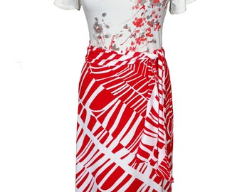 Summer Dress, Plus Size Dress, Red and White Dress, Cotton Dress, Floral Dress, Short Sleeves Dress, Printed Jersey Dress, Designer Dress