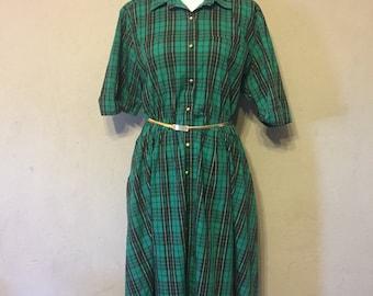 1970's Vintage Green Plaid Shirt Dress - Size 18 - Plus Size Vintage Dress - Indie Dress - Retro Dress - Vintage Christmas Dress