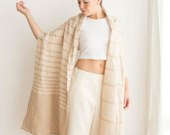 Linen shawl light cream summer accessory