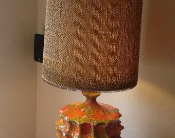 Vintage~ Mid-Century Modern~Brutalist~LAVA GLAZE DRIP~Large Table Lamp with Original Shade