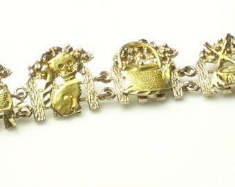 Fine Jewelry Cottage Chic Garden SCENE Bunny Sterling Silver Gold Vermeil Detailed 1970's Vintage Panel BRACELET Gift For Her Best Deal