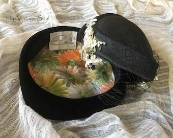 Vintage 1950's Black Hats, Set of 2, Vintage Black Velvet 50's Hat, Vintage Black Net 50's Hat, Retro