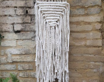 Inverted Triangle Macrame Wall Hanging on Copper with Cotton Cord