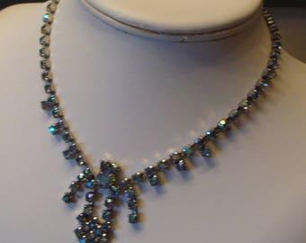 DECO STYLE rhinestone NECKLACE ab aurora borealis blue vintage