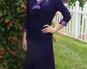 RICH PURPLE 1940's 40's DRESS with bow accent 32 waist M