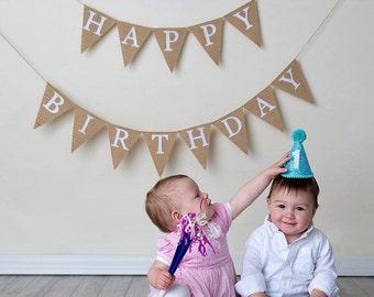 Happy Birthday Banner, Burlap Birthday Banner, Happy Birthday Bunting, Birthday Party, Birthday Party Decor, Happy Birthday Sign, Decoration