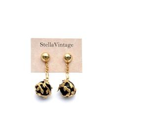 Heart black and gold flowers vintage drop earrings