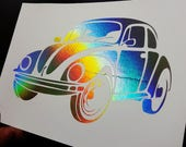 Oops Item - Volkswagen Classic Beetle  - 5 x 7 inch Holographic Silver Foil Print
