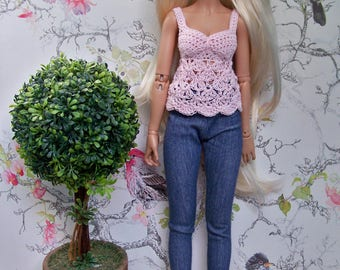 Light Baby Pink Cami Crochet Top Only for Minifee Slim Msd Mnf