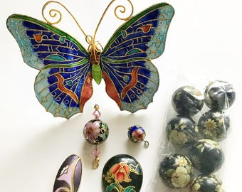 Huge Cloisonné Butterfly With Cloisonné Beads and Findings