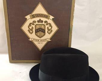 Vintage 1950s 60s Stevens Black XXX Beaver Fur Fedora Hat 7 1/8 with Box