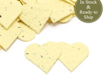Soft Yellow Plantable Seed Paper Confetti Hearts - READY-TO-SHIP - Eco Friendly, Wedding Favors, Bridal Shower Favors & Baby Shower Favors