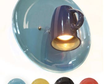 Wall light, Coffee Mug and Plate. Sconce, Ceiling Light. Spot light. Adjustable. Ceramic.