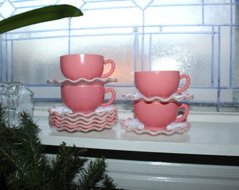4 Crinoline PInk and White Cups and 8 Saucers Hazel Atlas Vintage 1950s