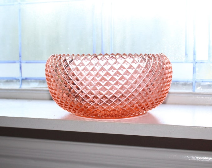 Pink Depression Glass Serving Bowl Miss America Diamond Vintage 1930s
