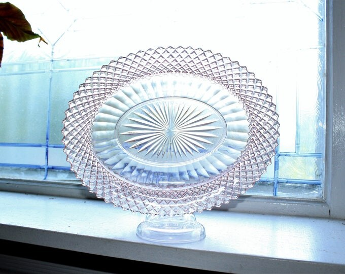 Pink Depression Glass Oval Vegetable Bowl Miss America Diamond Vintage 1930s
