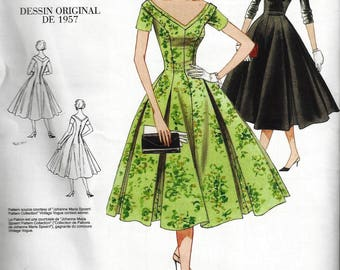 VOGUE VINTAGE MODEL Pattern #v2903 Cir.1957~Misses'/Misses' Petite Sz 12-16~V-Neck Fit and Flared Dresses