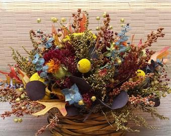 Dried Flower Centerpiece Basket Arrangement Colorful Fall Flowers