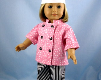 """Doll Clothes 18 Inch - Doll Chef Outfit - Fits American Girl Dolls - Pink and Black Chef Set for Doll - Doll Clothes 18"""""""