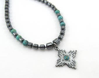 Mens Jewelry, Native American Beaded Necklace, Pewter Four Directions Charm, Hematite Necklace, Turquoise Accent, Tribal