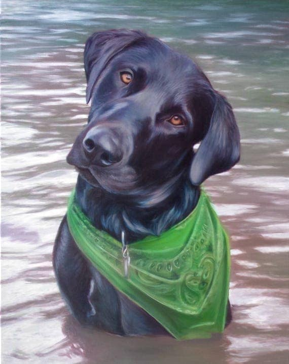 Reserved - Deposit - PET PORTRAIT - Dog Portrait - Black Lab - Custom Painting - Oil Painting - Best Gift