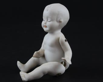 Vintage Metal Pin Jointed Bisque Doll - Hinged Bisque Sleeping Baby Doll