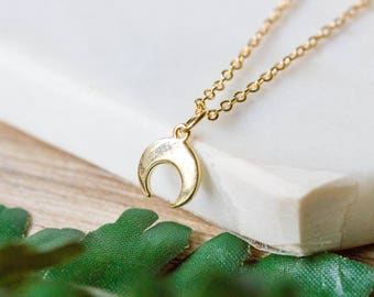 Double horn delicate gold necklace | Gold plated layering necklace | Gifts for her under 20 | Upside down moon charm pendant | Dainty chain|