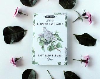 lilac flower bath milk sachet, heirloom seed packet inspired moisturizing bath powder