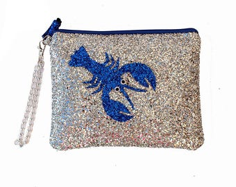 Glitter Blue Lobster Clutch Purse Handbag - LIMITED EDITION