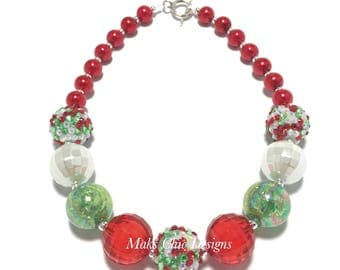 Toddler or Girls Red, White and Green Chunky Necklace - Christmas Red Necklace - Green Holiday Necklace - Santa Chunky Necklace - Holiday