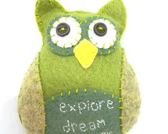 Inspirational Owl Ornament, Hand stitched Owl Ornament, Explore, Dream, Discover felt Owl, Green Felt Ornament, Owl Car Charm, Owl decor