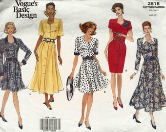 Sewing pattern Vogue 2818 Semi fitted button front dress contrast collar cuffs straight flared skirt Size 6-8-10 Vogue's Basic Design uncut