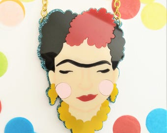 PREORDER* Frida Kahlo perspex necklace (Blue glitter)