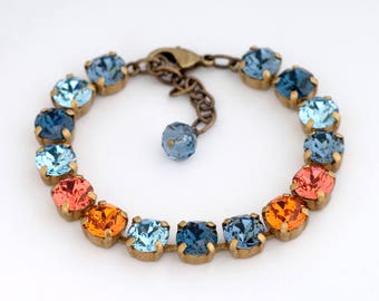 Navy Blue Swarovski Crystal Bracelet, Orange Crystal Tennis Bracelet, Blue Rhinestone Bracelet, Swarovski Jewelry, Crystal Jewelry, Drita