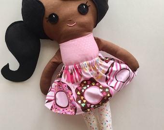 "Ready To Ship Handmade Doll - 18"" Handmade Girl Doll - Girl Doll with Doughnut Skirt and Sprinkles Stockings - Brown Skin Doll - Birthday"