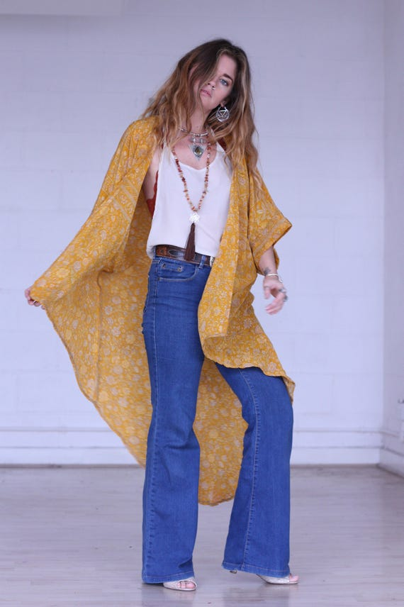 BOHEMIAN SUNSHINE KIMONO - Long Kimono - Silk Cardigan - Cover Up - Beach - Bespoke - Silk Kaftan - Cover Up - Summer - Festival - Maxi