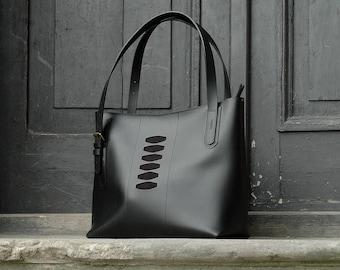 Black TOTE BAG giant bag handmade leather bag hobo style Zuza 3 collection by Ladybuq