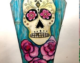 ORIGINAL SMALL 7x10 inch Halloween Sugar Skull Coffin Watercolor Painting on paper // blue, wood grain, pink roses, day of the dead