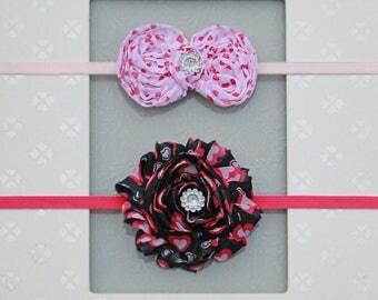 "Baby Girl Valentine's Day Headband Set - ""Valentine's Day Headbands"" - Newborn Valentine"